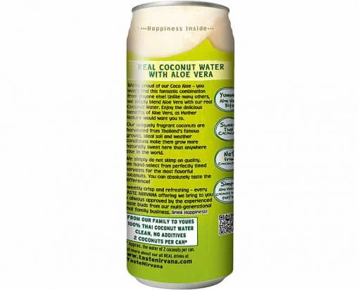 Back side of Taste Nirvana Coco Aloe Can