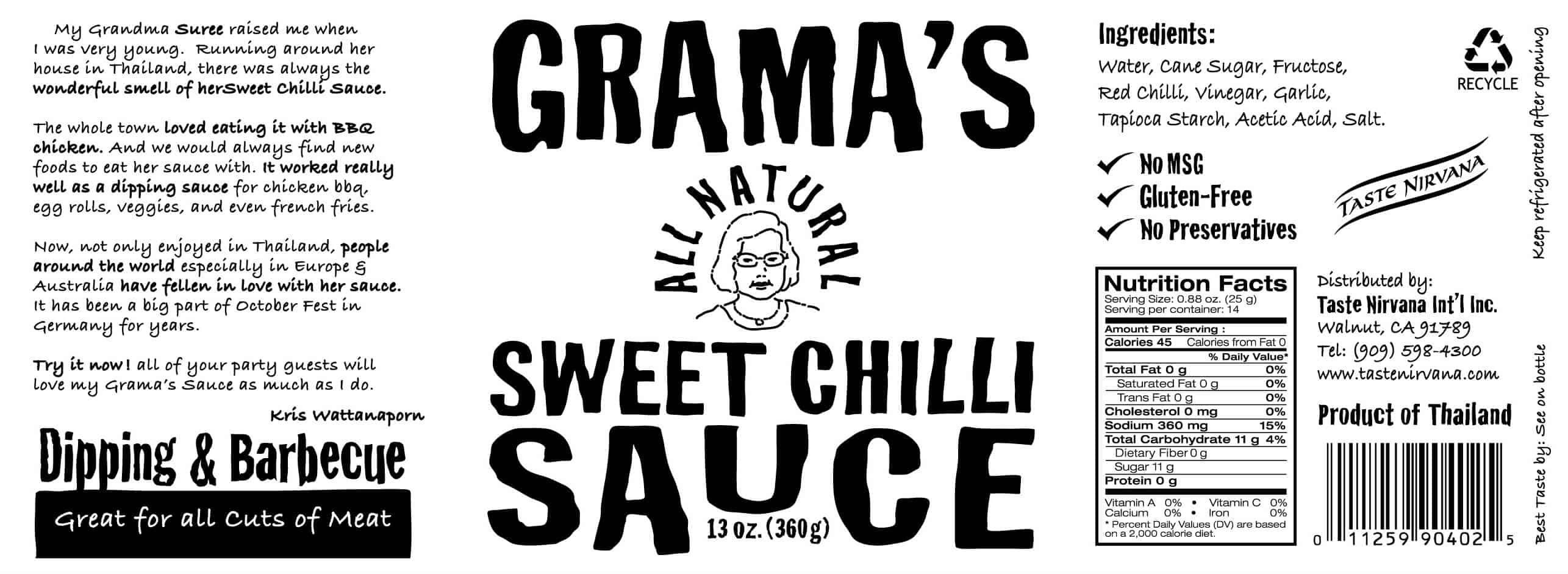 Grama's All Natural Sweet Chili Sauce (1 bottle)